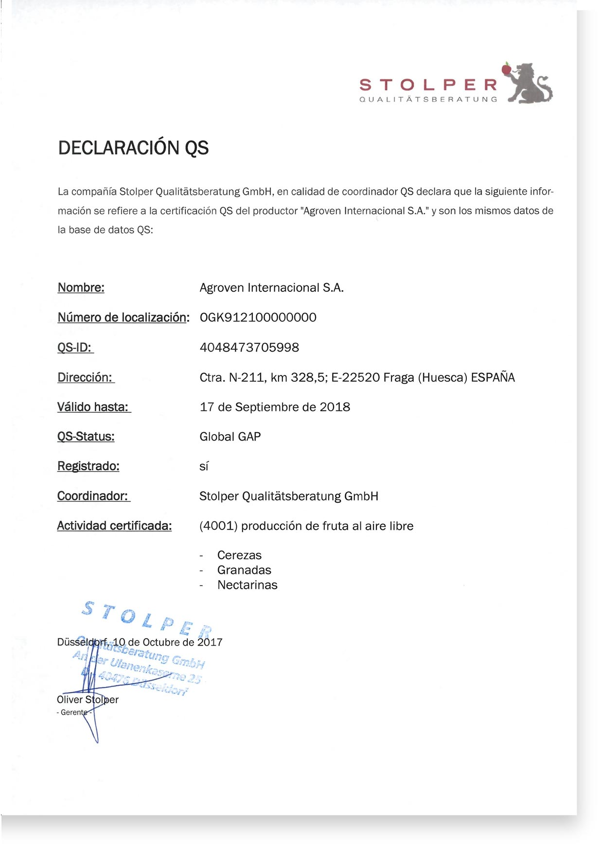 Certificado-QS. Qs-Certificate. Agroven International.